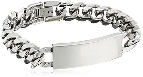 Engravable Link Bracelet (Men's Stainless Steel 12mm Curb Chain Identification Bracelet)