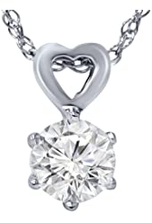 3/8ct Solitaire Diamond Heart Pendant 14K White Gold