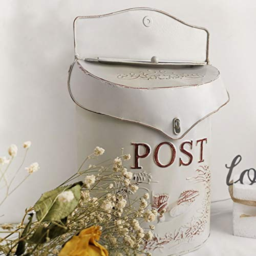 GXF Wall-mounted Retro Villa Letter Box Outdoor Waterproof Security Lockable with Lid Post Boxes Door Letterboxes Home Multifunction Flower Vase Decoration Frame ,24.5x9.6x39.5cm ( color : White )