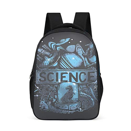 science 16.5'' Student's Backpack - Novelty Funny design Back to School 2019 Rucksack Daypack for Laptop School Bag Travel grey onesize