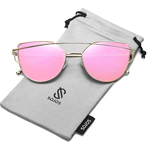 SOJOS Cat Eye Mirrored Flat Lenses Street Fashion Metal Frame Women Sunglasses SJ1001 with Gold Frame/Rose Mirrored Lens