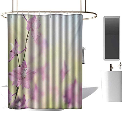 (Qenuan Shower Curtain Hooks Floral,Larkspur Petals with Bokeh Backdrop Summer Season Botany Bouquet Image,Baby Pink Pale Green,Eco-Friendly,Bathroom Curtain 72