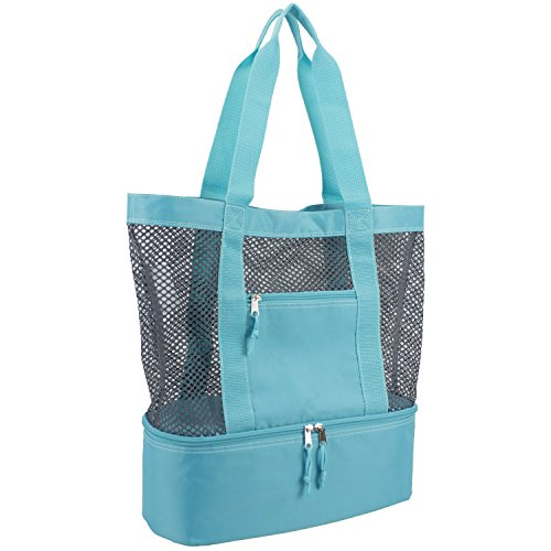 Beach Mint - Eastsport Mesh Tote Insulated Cooler Beach Bag, Mint Blue/Gray