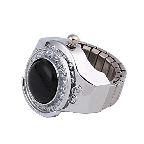 Kangnice 20mm Gemstone Agate Round Finger Ring Watch Jewelry Gift Modern ()