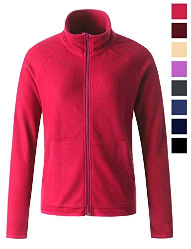 Regna X Women's Fleece Lined Microfiber Full Zip up Fleece Jacket Pink L (Microfiber Jacket Color)