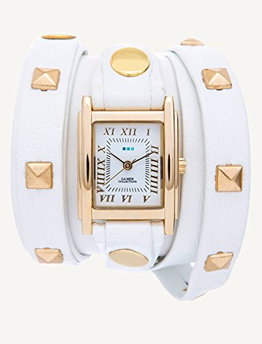 La Mer Collections Women's LMLW1010E White Gold Pyramid Analog Display Quartz White Watch