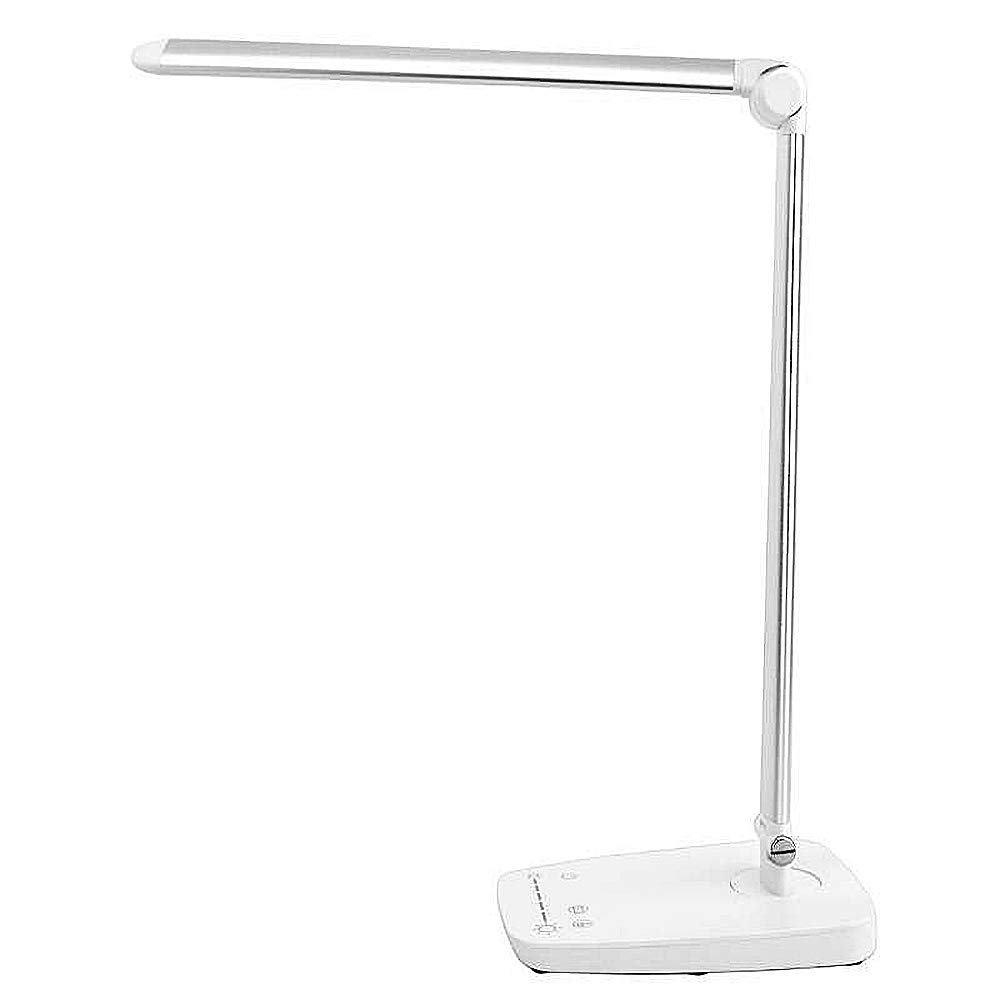 LED Desk Lamp w USB Charging Port Dimmable 7 Lighting Modes Adjustable Arm Touch Panel Eye-Care White and Silver Metal and ABS Office Work Home Table Bedside Light 10W