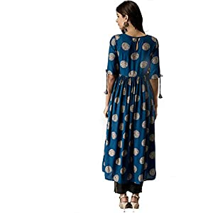 AnjuShree Choice Women Stitched Gold Printed Dark Sky Blue Cotton Anarkali kurti Kurta