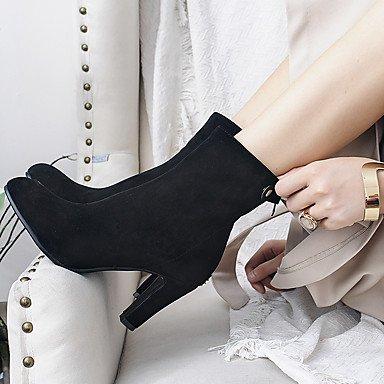 Heart&M Damen Schuhe Beflockung Herbst Winter Komfort Stiefel Blockabsatz Spitze Zehe Reißverschluss Für Schwarz Wein Leicht Rosa Wine Red