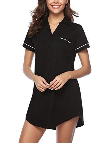 Hawiton Women V Neck Nightshirt Short Sleeve Nightgown Button Front Pajamas Dress Shirts (Cotton-Black, Medium)