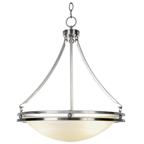 Monument 617610 Contemporary Fluorescent Lighting Collection Chandelier, Brushed Nickel, 16-5/8-Inch W by 23-1/2-Inch (Fluorescent Chandelier)