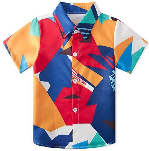 RAISEVERN Big Boy's Dress Shirt Cute Colorful Button Down Short Sleeve Cartoon Geometric Top Kids Cool T-Shirt(7-8T) (Uniform Button Down)