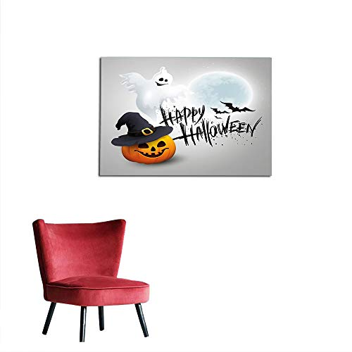 kungfu Decoration Wall Paper Halloween,Happy Celebration Typography Stained Look Cute Ghost Pumpkin Hat Print,White Black Orange Custom Poster W47.2 x L31.5 -