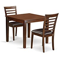 East West Furniture OXML3-MAH-LC 3Piece Dinette Table Set with One Oxford Dining Table & 2 Dining Room Chairs in Mahogany Finish