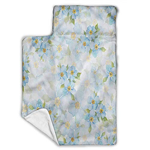 Watercolor Art Toddler Nap Mat-Includes Pillow & Fleece Blanket-Soft Microfiber Children Sleeping Bag-Watercolor Flower Hibiscus-Perfect Size,Ages 2-4 Years