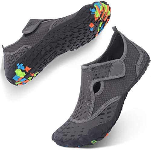JIASUQI Womens Barefoot Water Shoes Socks for Snorkeling Beach Grey US 7.5 Women, 6 Men