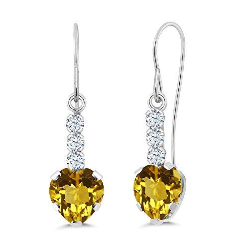Gem Stone King 1.62 Ct Heart Shape Yellow Citrine 14K White Gold Earrings ()