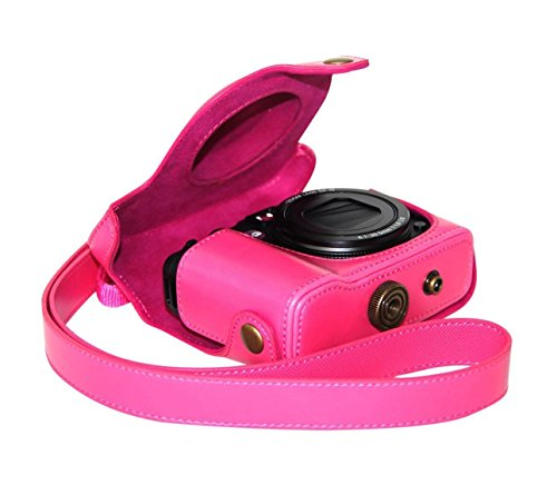 MegaGear Ever Ready Protective Hot Pink Leather Camera Case, Bag for Canon PowerShot (Charger Leather Case Lcd)