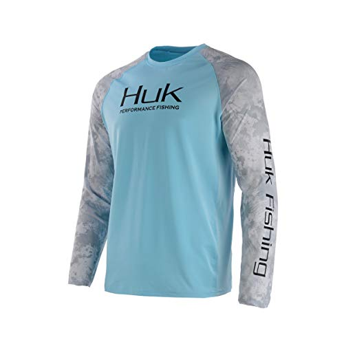 Huk Men's Double Header Vented Long Sleeve Shirt, Ice Blue, 2X-Large