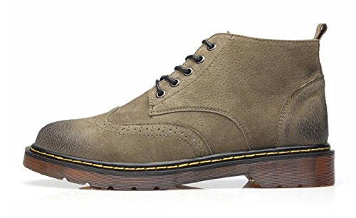 Jiye Man Tillfälliga Boots Läder Promenadskor Genom Ijusbrunt