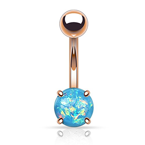 Fifth Cue 14G Opal Glitter Prong Set Rose Gold IP Over 316L Surgical Steel Belly Button Ring (Synthetic Opal) - Aqua