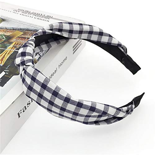 Women Hair Hoop Turban Headband Hairband Hair for Girls Knotted Head Band Hair Band Headwear(Plaid Navy -