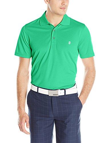 IZOD Men's Basic Short Sleeve Solid Grid Golf Polo, Emerald Green, Medium