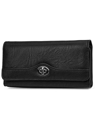 Mundi File Master Womens RFID Blocking Wallet Clutch Organizer With Change Pocket (One Size, (Black)) (Receipt Organizer Wallet)