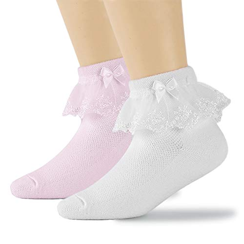 DoMii Toddler Girl Ankle Socks Lace Eyelet Frilly Socks with Ruffles Bowknot Strawberry Print 2 Pack white&pink L(6-8T)