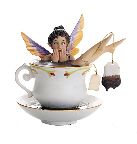 Pacific Giftware Whimsical Fairy Enjoying Bath In Tea Cup Collectible Figurine 5.75H