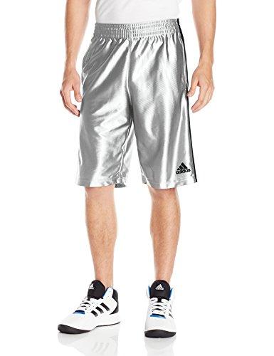 adidas Mens Basketball Basic 4 Shorts, Light Grey/Black, Medium