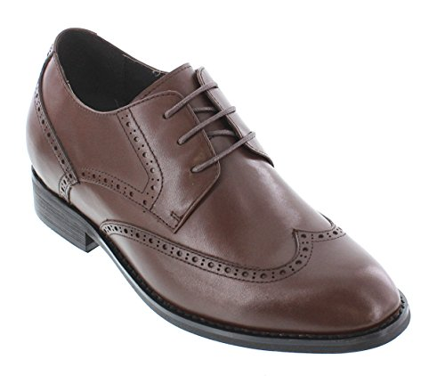 Shoes Dress Shoes height inches Increasing up CALTO 3 Brown Elevator Taller T22010 Lace Dark Leather wxqp0OF6