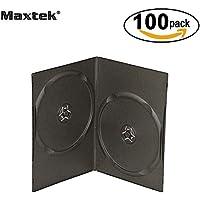 Maxtek 7mm Slim Black Double CD/DVD Case, 100 Pieces Pack.