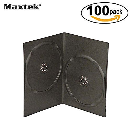 Maxtek 7mm Slim Black Double CD/DVD Case, 100 Pieces Pack. (Double Disc Case)