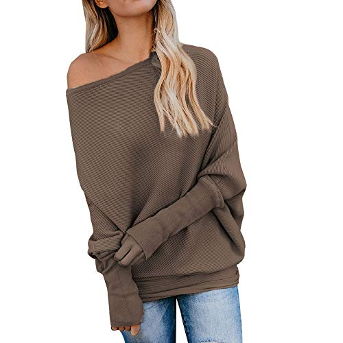 iZHH Spring Women Fashion Pure Color Cotton Casual Top T Shirt Ladies Long Sleeve Blouse(Coffee,L) (Dress Johnny Formal)