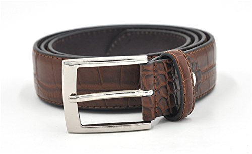 Miki Da Mens Fashion Waist Belts Faux Crocodile Pattern Belts With Split Leather Luxury Crocodile Belt Men Designer Accessories Belts Brown 110cm 36to39 Inch ()