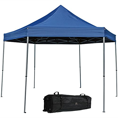 Sunnydaze Penthouse Quick-Up Instant Hexagon Canopy Gazebo with Rolling Bag, 12 Foot, Blue (Rolling Shades For Patio)