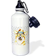 3dRose Uta Naumann Watercolor Illustration Animal - Cute Funny Dog Illustration on Polkadots- Welsh Corgi Pembroke - 21 oz Sports Water Bottle (wb_275102_1)