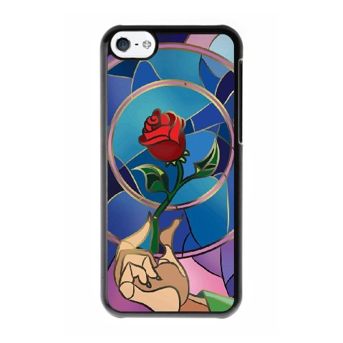 Coque,Coque iphone 5C Case Coque, Beauty And The Beast Enchanted Rose Cover For Coque iphone 5C Cell Phone Case Cover Noir