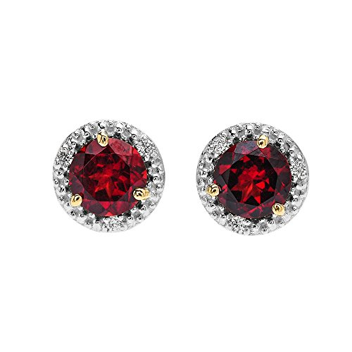 Halo Stud Earrings in Two Tone 14k Yellow Gold with Solitaire Garnet and Diamonds
