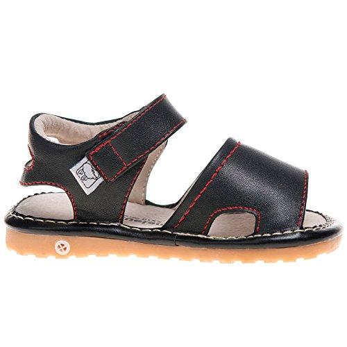 Little Blue Lamb–Garçons Filles Jouet couineur pour bout ouvert en cuir Chaussures Sandales pour Homme Coupe Large–Noir–Avec Corne à chaussures