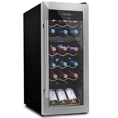 18 Bottle Wine Cooler Refrigerator – White/Red Wine Fridge Chiller Countertop Wine Cooler – Freestanding Compact Mini…