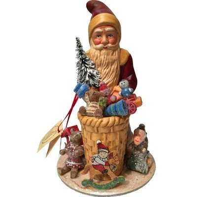 Schaller Paper Mache Candy Container Santa with Gifts -