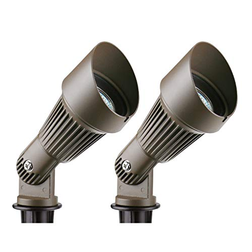 Lumina Low Voltage Landscape Lighting Waterproof Outdoor Spotlights for Walls Trees Flags Adjustable Knuckle Aluminum Housing With Warm White 20W Halogen Bulb and Ground Stake Bronze SFL0102-BZ2 (2PK) ()