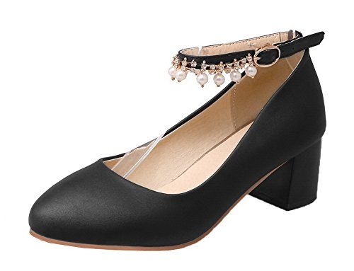 Round Heels Shoes Toe Kitten Women's Solid PU Closed Pumps Black Buckle WeenFashion xZ67q4wYq