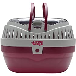 Living World Pet Carrier, Red/Grey