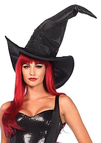 Halloween Costume Witch Broom (Leg Avenue Women's Large Ruched Witch Hat, One)