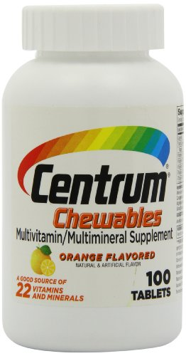 Centrum croquer multivitamines, saveur d'orange, 100 comprimés