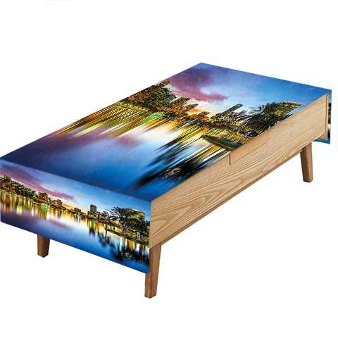 PINAFORE Indoor/Outdoor Polyester Tablecloth Famous USA Urban Downtown View Orlando Florida EOLA Lake Romantic Scene Blue Wedding Decoration Table Cover Color W50 x L80 -