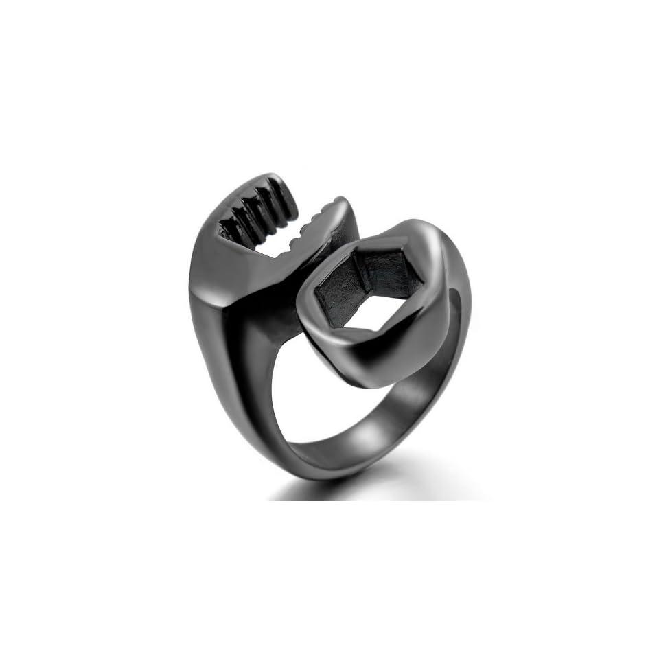 INBLUE Mens Stainless Steel Ring Black Spanner Mechanic Wrench Tool